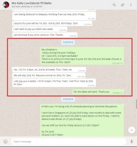 Whatsapp with a parent for tuition schedule fixation and payment.