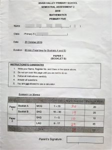 River Valley Primary School Semestral Assessment 2 2018 Mathematics Primary Five 88/100 with private tuition