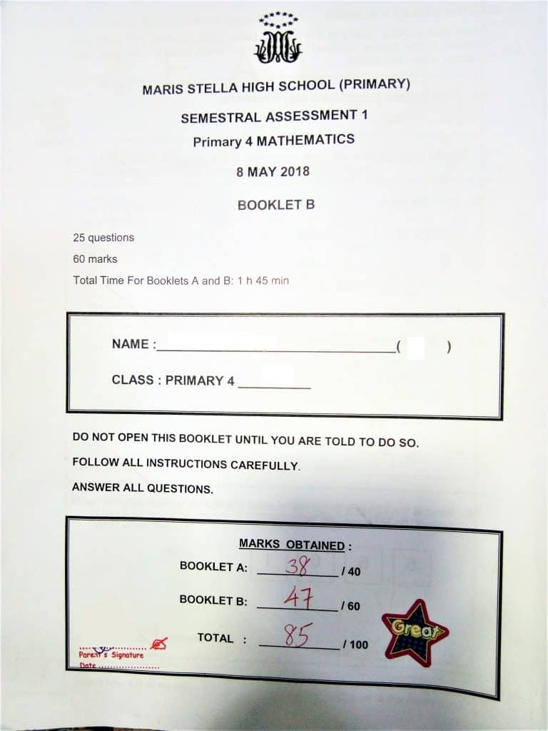 Maris Stella High School (Primary) Primary 4 Mathematics SA1 result with private tuition by home-tuition.sg