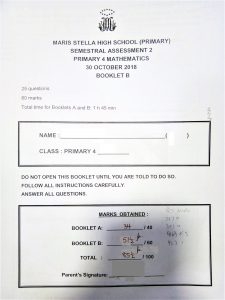 Maris Stella High School (Primary) Primary 4 Mathematics SA2 result with private tuition by home-tuition.sg